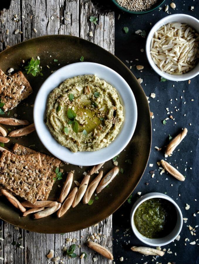 Hummus de pesto. Receta