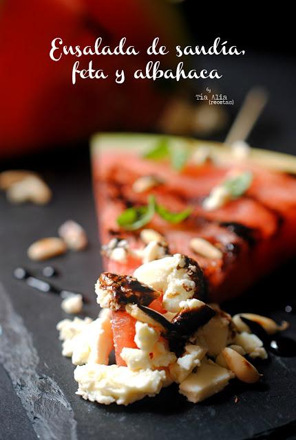 Ensalada de sandía, feta y albahaca para #Ponunaensalada