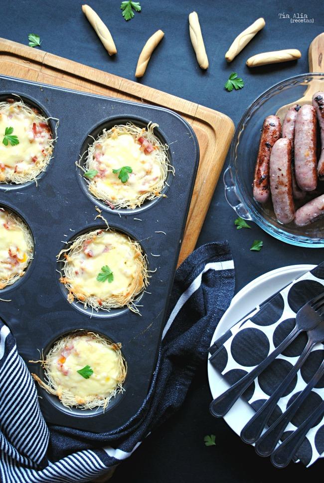 Huevos al horno en nido de kataifi. Receta