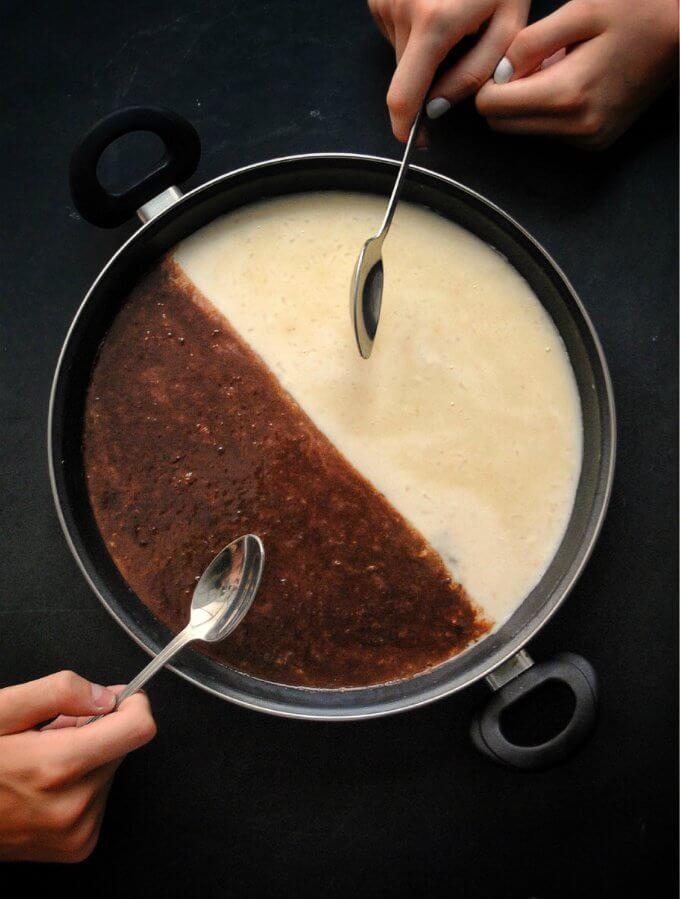 Paella dulce de dos chocolates. Receta