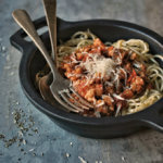 salsa boloñesa de soja texturizada para vegetarianos